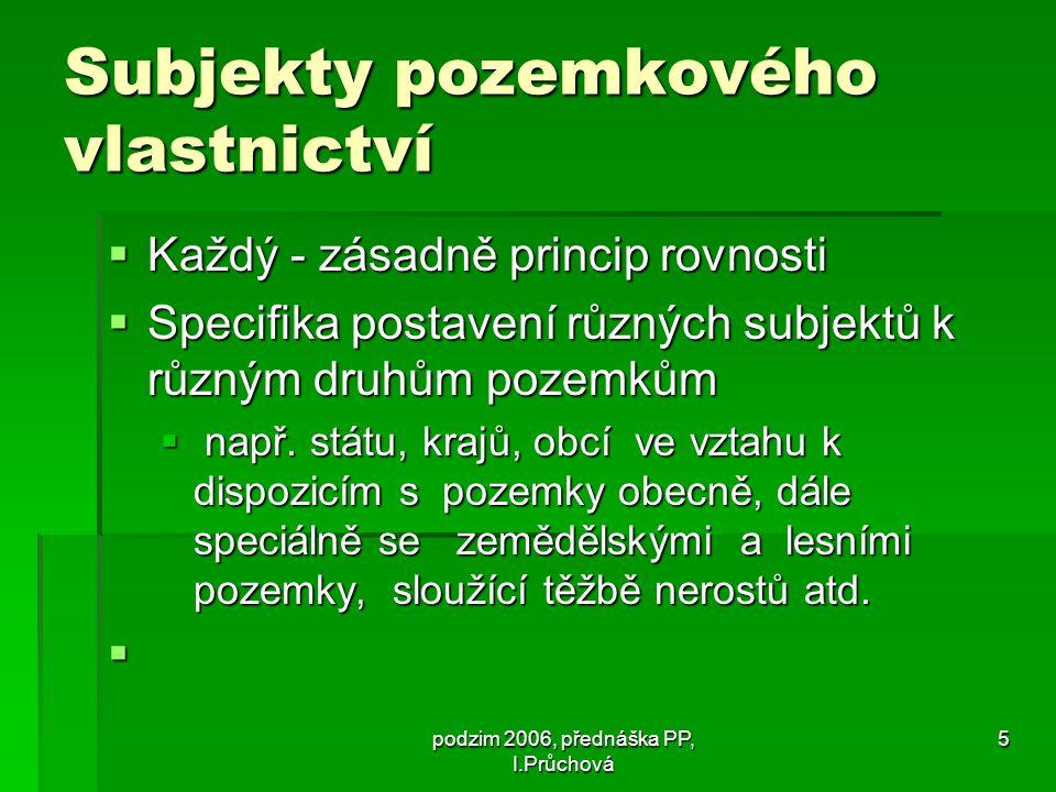 podzim 2006, přednáška PP, I.Průchová 16 Ad Specifika pozemkového vlastnictví státu  Úřad pro zastupování státu ve věcech majetkových  Zák.č.