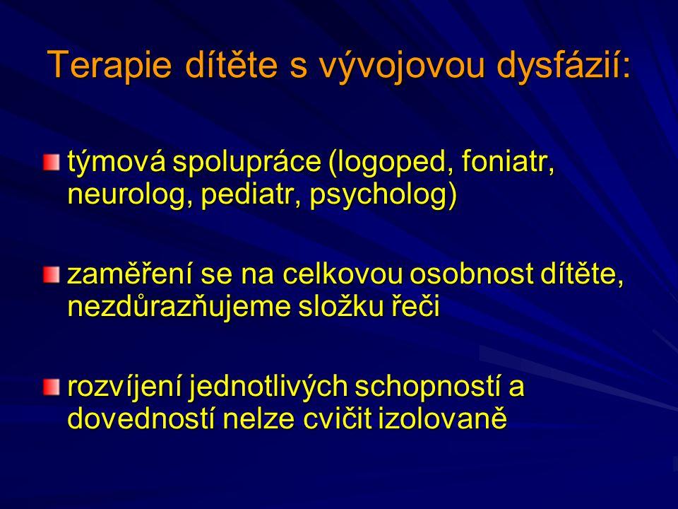 Terapie dítěte s vývojovou dysfázií: týmová spolupráce (logoped, foniatr, neurolog, pediatr, psycholog) zaměření se na celkovou osobnost dítěte, nezdů