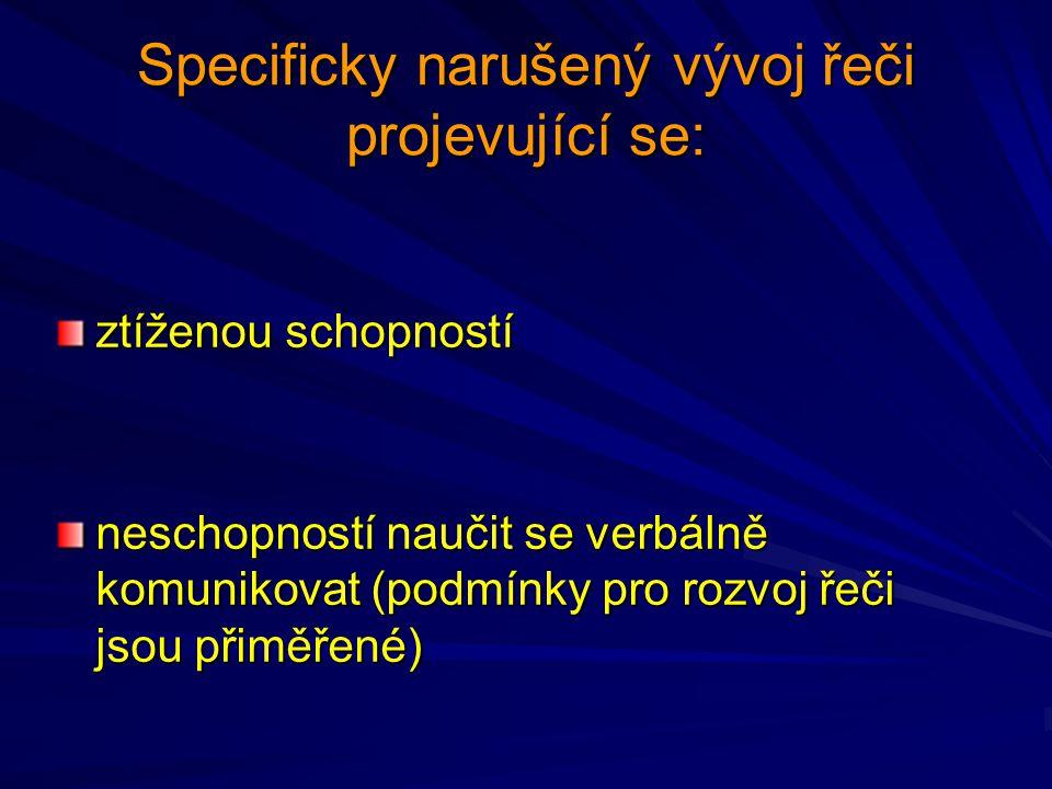 Specificky narušený vývoj řeči projevující se: ztíženou schopností neschopností naučit se verbálně komunikovat (podmínky pro rozvoj řeči jsou přiměřen