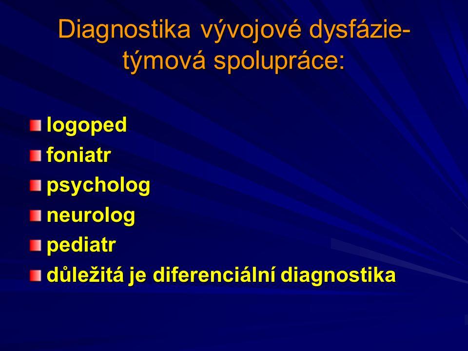 Vývojovou dysfázii je třeba diagnostikovat jako celek Opoždění jednotlivých složek osobnosti 1.vývoj řeči 2.vývoj zrakové percepce 3.vývoj sluchové percepce 4.vývoj jemné motoriky 5.vývoj koordinace pohybů 6.vývoj grafomotoriky je nerovnoměrné