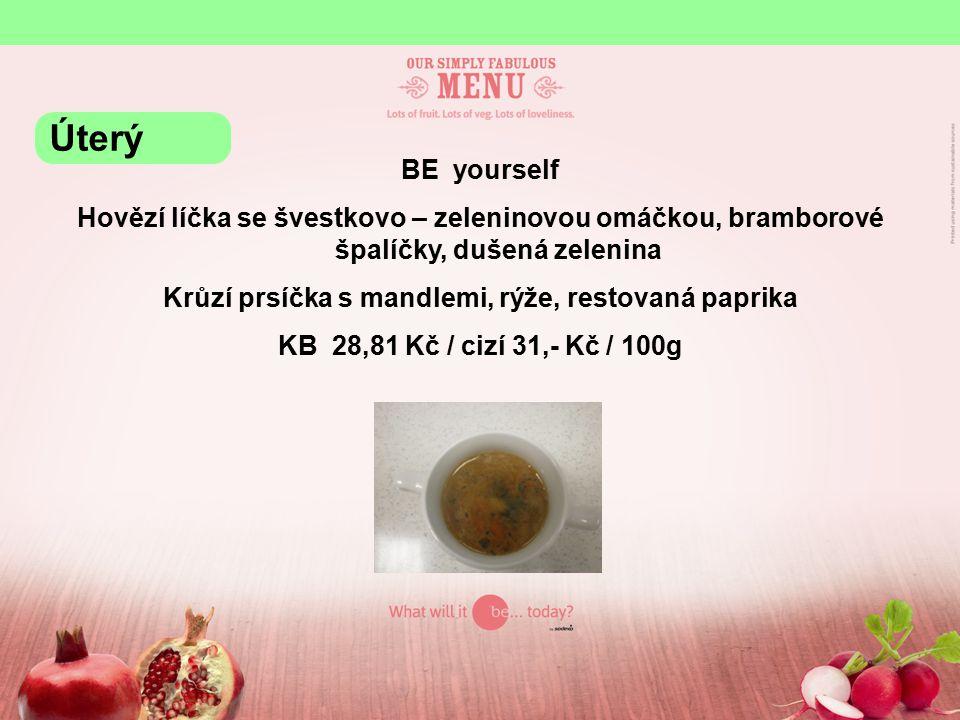 BE yourself Hovězí líčka se švestkovo – zeleninovou omáčkou, bramborové špalíčky, dušená zelenina Krůzí prsíčka s mandlemi, rýže, restovaná paprika KB