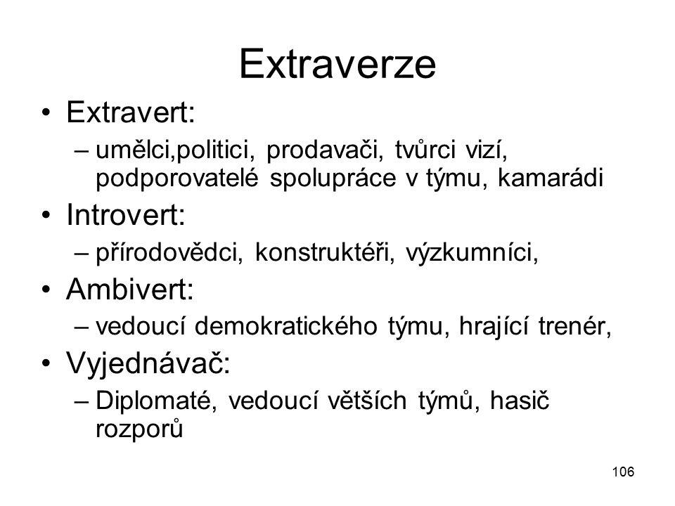 106 Extraverze Extravert: –umělci,politici, prodavači, tvůrci vizí, podporovatelé spolupráce v týmu, kamarádi Introvert: –přírodovědci, konstruktéři,