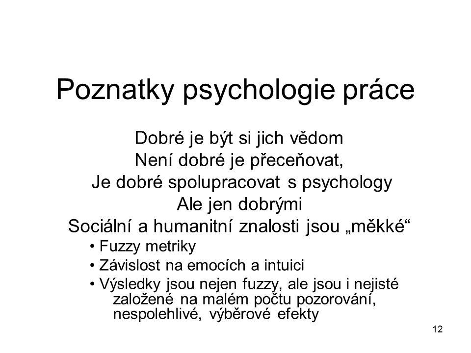 12 Poznatky psychologie práce Dobré je být si jich vědom Není dobré je přeceňovat, Je dobré spolupracovat s psychology Ale jen dobrými Sociální a huma