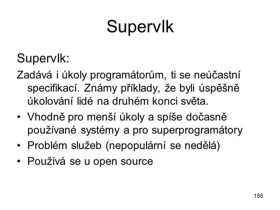 155 Supervlk Supervlk: Zadává i úkoly programátorům, ti se neúčastní specifikací. Známy příklady, že byli úspěšně úkolování lidé na druhém konci světa