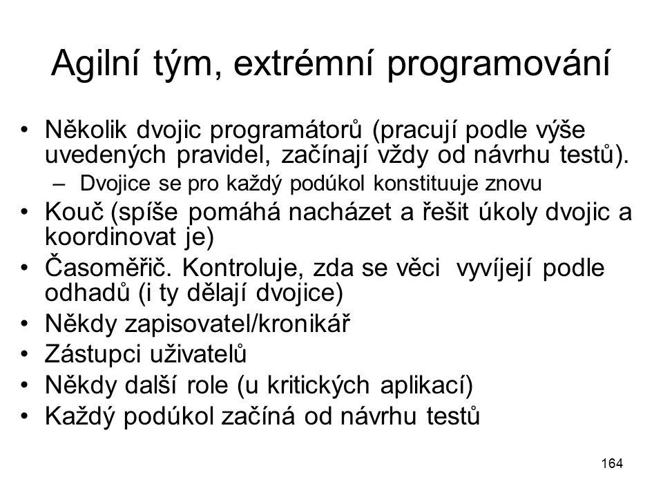 164 Agilní tým, extrémní programování Několik dvojic programátorů (pracují podle výše uvedených pravidel, začínají vždy od návrhu testů). – Dvojice se