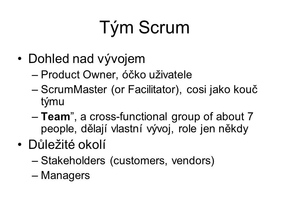 "Tým Scrum Dohled nad vývojem –Product Owner, óčko uživatele –ScrumMaster (or Facilitator), cosi jako kouč týmu –Team"", a cross-functional group of abo"