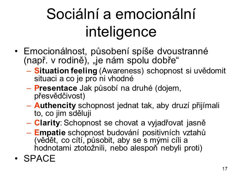 """17 Sociální a emocionální inteligence Emocionálnost, působení spíše dvoustranné (např. v rodině), """"je nám spolu dobře"""" –Situation feeling (Awareness)"""