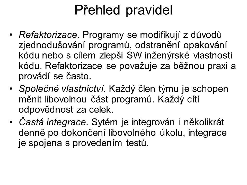 Přehled pravidel Refaktorizace. Programy se modifikují z důvodů zjednodušování programů, odstranění opakování kódu nebo s cílem zlepši SW inženýrské v