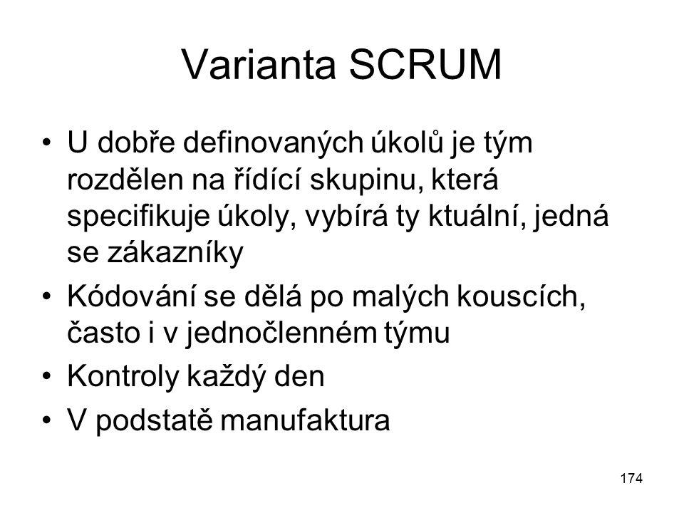 Varianta SCRUM U dobře definovaných úkolů je tým rozdělen na řídící skupinu, která specifikuje úkoly, vybírá ty ktuální, jedná se zákazníky Kódování s
