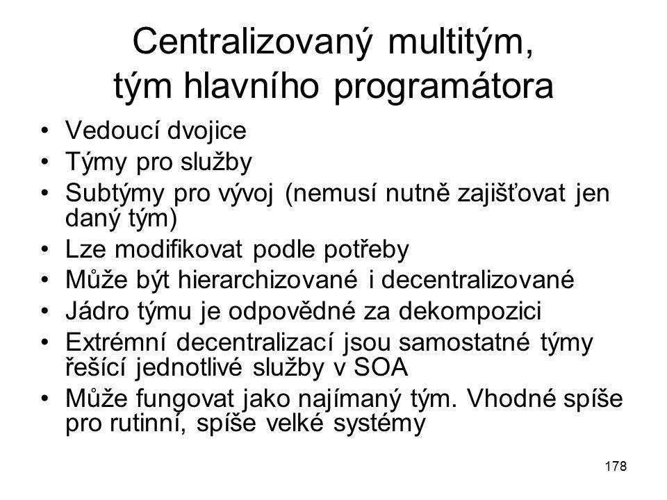 178 Centralizovaný multitým, tým hlavního programátora Vedoucí dvojice Týmy pro služby Subtýmy pro vývoj (nemusí nutně zajišťovat jen daný tým) Lze mo