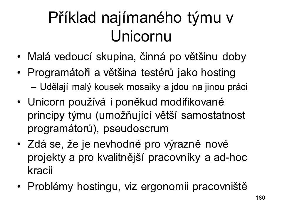 180 Příklad najímaného týmu v Unicornu Malá vedoucí skupina, činná po většinu doby Programátoři a většina testérů jako hosting –Udělají malý kousek mo