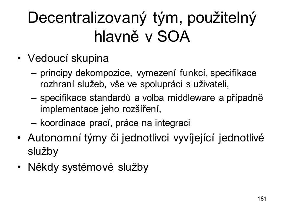 181 Decentralizovaný tým, použitelný hlavně v SOA Vedoucí skupina –principy dekompozice, vymezení funkcí, specifikace rozhraní služeb, vše ve spoluprá