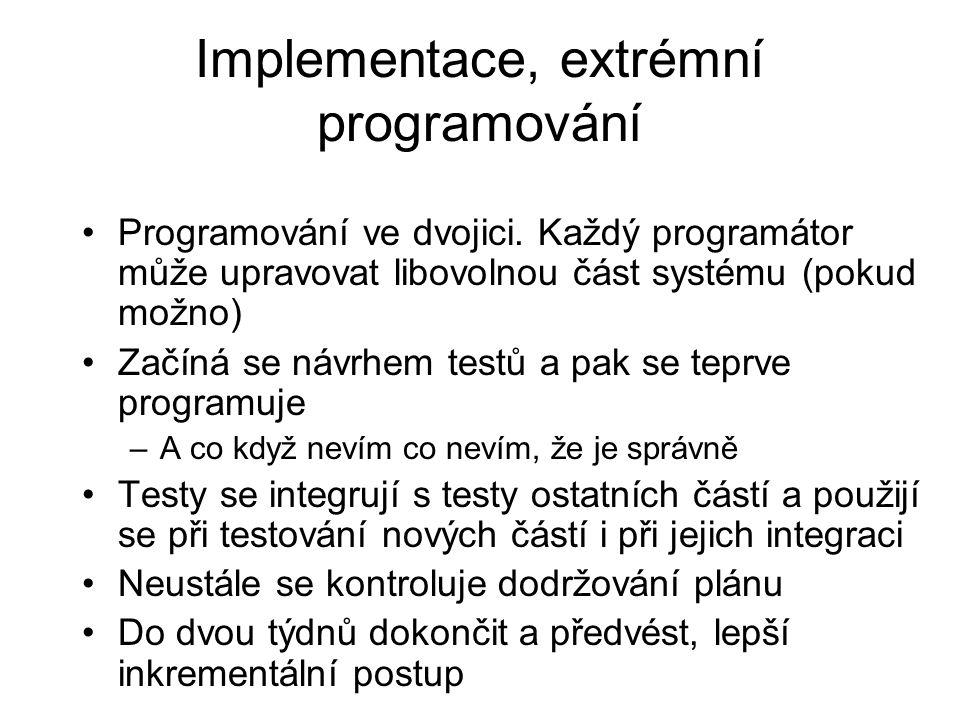 Implementace, extrémní programování Programování ve dvojici. Každý programátor může upravovat libovolnou část systému (pokud možno) Začíná se návrhem