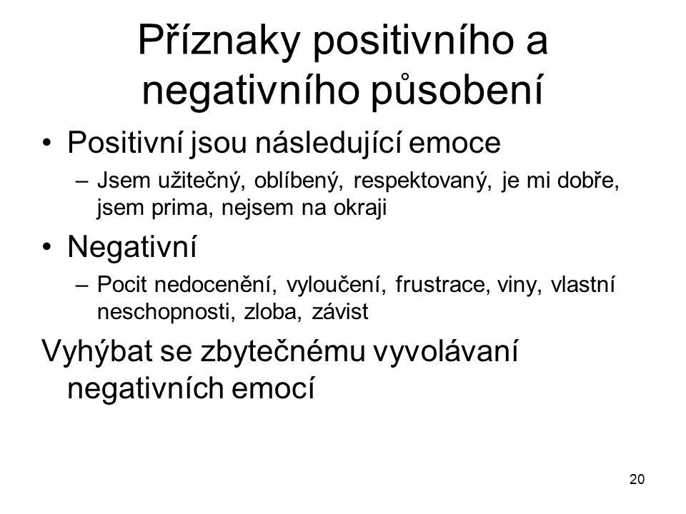 20 Příznaky positivního a negativního působení Positivní jsou následující emoce –Jsem užitečný, oblíbený, respektovaný, je mi dobře, jsem prima, nejse