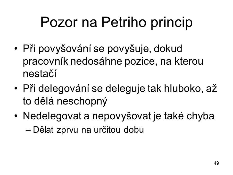 Pozor na Petriho princip Při povyšování se povyšuje, dokud pracovník nedosáhne pozice, na kterou nestačí Při delegování se deleguje tak hluboko, až to