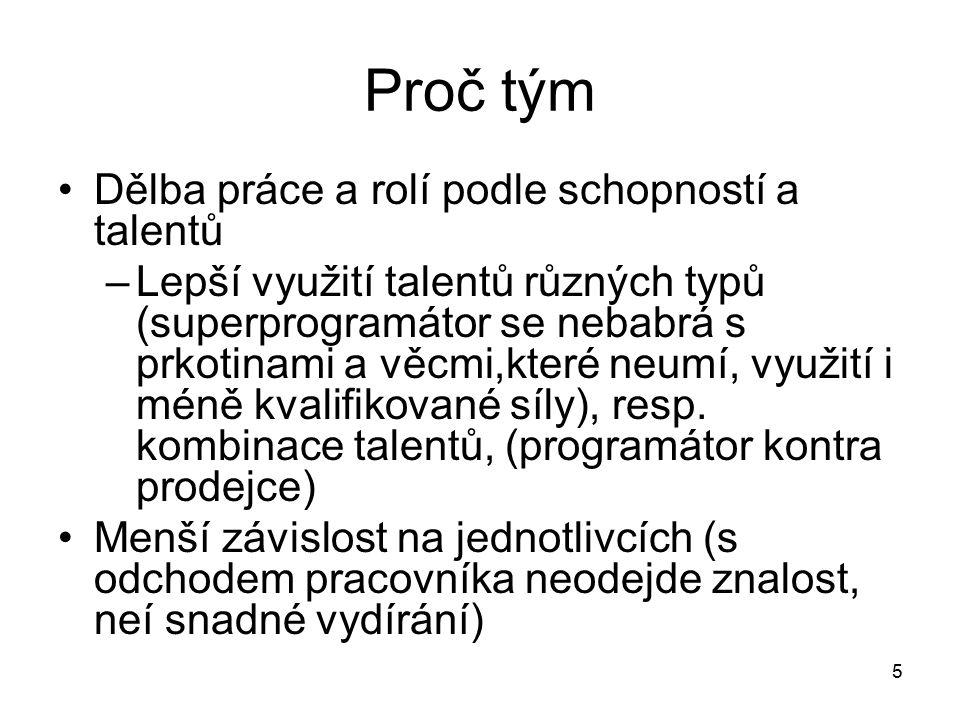 5 Proč tým Dělba práce a rolí podle schopností a talentů –Lepší využití talentů různých typů (superprogramátor se nebabrá s prkotinami a věcmi,které n
