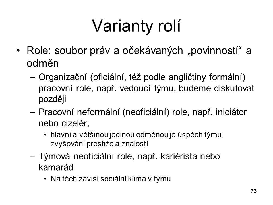 """73 Varianty rolí Role: soubor práv a očekávaných """"povinností"""" a odměn –Organizační (oficiální, též podle angličtiny formální) pracovní role, např. ved"""