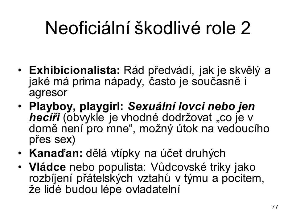 77 Neoficiální škodlivé role 2 Exhibicionalista: Rád předvádí, jak je skvělý a jaké má prima nápady, často je současně i agresor Playboy, playgirl: Se