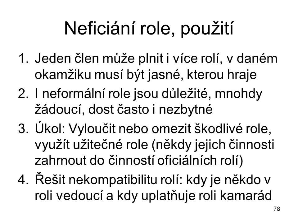 78 Neficiání role, použití 1.Jeden člen může plnit i více rolí, v daném okamžiku musí být jasné, kterou hraje 2.I neformální role jsou důležité, mnohd