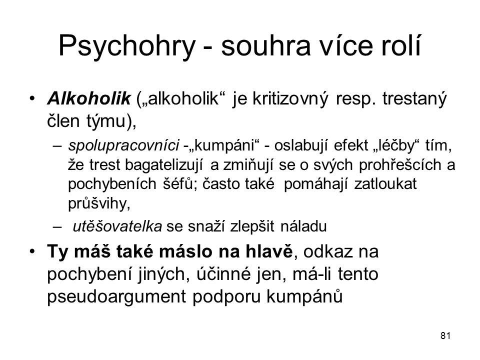 """81 Psychohry - souhra více rolí Alkoholik (""""alkoholik"""" je kritizovný resp. trestaný člen týmu), –spolupracovníci -""""kumpáni"""" - oslabují efekt """"léčby"""" t"""