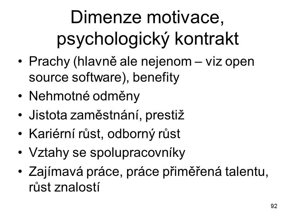 92 Dimenze motivace, psychologický kontrakt Prachy (hlavně ale nejenom – viz open source software), benefity Nehmotné odměny Jistota zaměstnání, prest