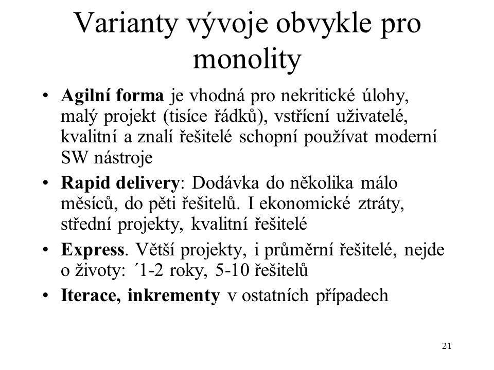 21 Varianty vývoje obvykle pro monolity Agilní forma je vhodná pro nekritické úlohy, malý projekt (tisíce řádků), vstřícní uživatelé, kvalitní a znalí řešitelé schopní používat moderní SW nástroje Rapid delivery: Dodávka do několika málo měsíců, do pěti řešitelů.