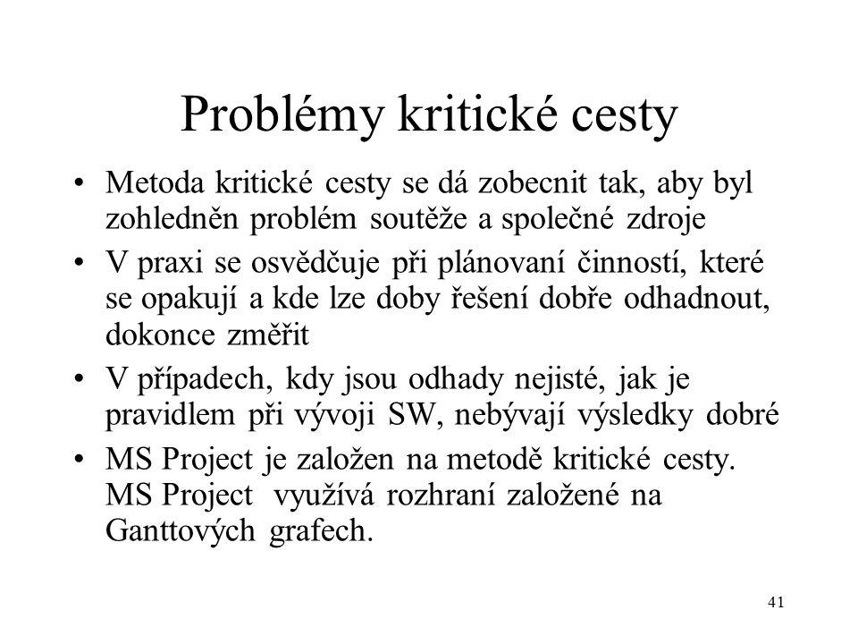 41 Problémy kritické cesty Metoda kritické cesty se dá zobecnit tak, aby byl zohledněn problém soutěže a společné zdroje V praxi se osvědčuje při plánovaní činností, které se opakují a kde lze doby řešení dobře odhadnout, dokonce změřit V případech, kdy jsou odhady nejisté, jak je pravidlem při vývoji SW, nebývají výsledky dobré MS Project je založen na metodě kritické cesty.
