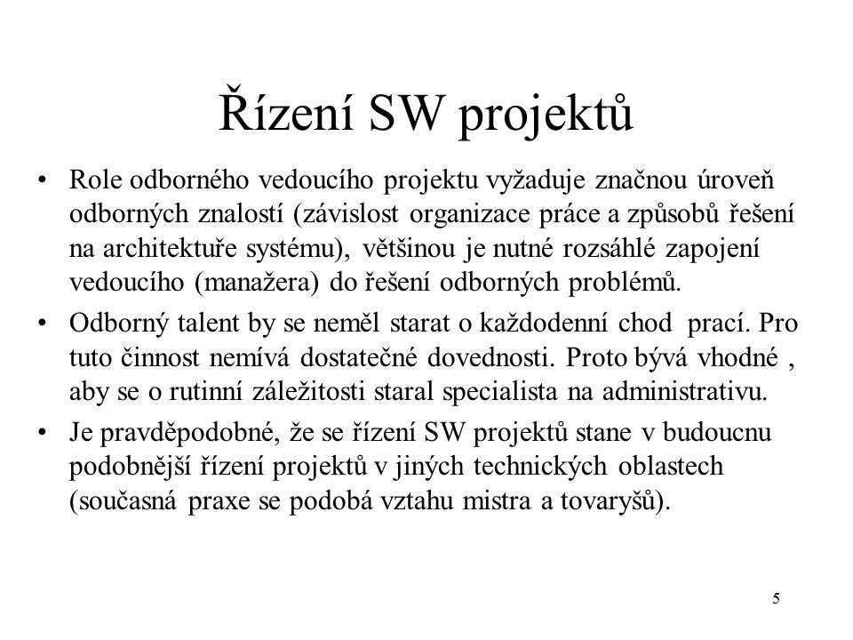 5 Řízení SW projektů Role odborného vedoucího projektu vyžaduje značnou úroveň odborných znalostí (závislost organizace práce a způsobů řešení na architektuře systému), většinou je nutné rozsáhlé zapojení vedoucího (manažera) do řešení odborných problémů.