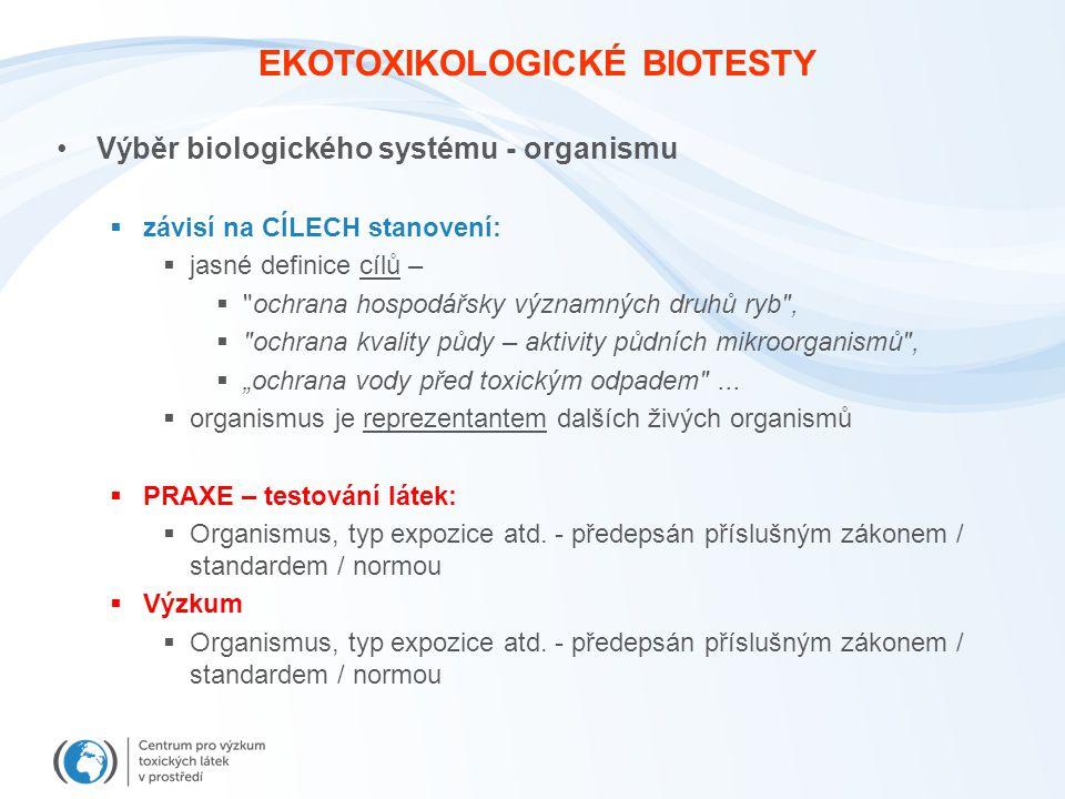 """EKOTOXIKOLOGICKÉ BIOTESTY Výběr biologického systému - organismu  závisí na CÍLECH stanovení:  jasné definice cílů –  ochrana hospodářsky významných druhů ryb ,  ochrana kvality půdy – aktivity půdních mikroorganismů ,  """"ochrana vody před toxickým odpadem ..."""