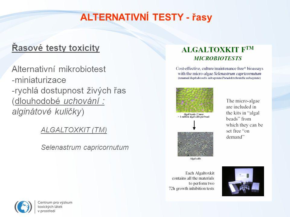 Řasové testy toxicity Alternativní mikrobiotest -miniaturizace -rychlá dostupnost živých řas (dlouhodobé uchování : alginátové kuličky) ALGALTOXKIT (TM) Selenastrum capricornutum ALTERNATIVNÍ TESTY - řasy