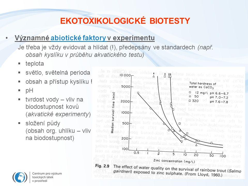 EKOTOXIKOLOGICKÉ BIOTESTY Významné abiotické faktory v experimentu Je třeba je vždy evidovat a hlídat (!), předepsány ve standardech (např.