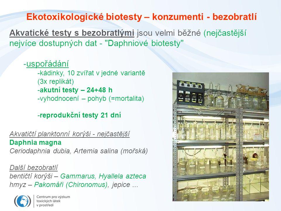 Akvatické testy s bezobratlými jsou velmi běžné (nejčastější nejvíce dostupných dat - Daphniové biotesty -uspořádání -kádinky, 10 zvířat v jedné variantě (3x replikát) -akutní testy – 24+48 h -vyhodnocení – pohyb (=mortalita) -reprodukční testy 21 dní Akvatičtí planktonní korýši - nejčastější Daphnia magna Ceriodaphnia dubia, Artemia salina (mořská) Další bezobratlí bentičtí korýši – Gammarus, Hyallela azteca hmyz – Pakomáři (Chironomus), jepice...