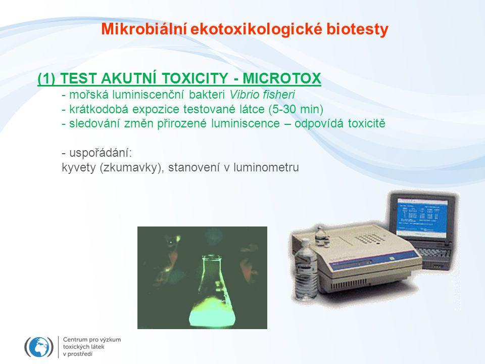 (1) TEST AKUTNÍ TOXICITY - MICROTOX - mořská luminiscenční bakteri Vibrio fisheri - krátkodobá expozice testované látce (5-30 min) - sledování změn přirozené luminiscence – odpovídá toxicitě - uspořádání: kyvety (zkumavky), stanovení v luminometru Mikrobiální ekotoxikologické biotesty
