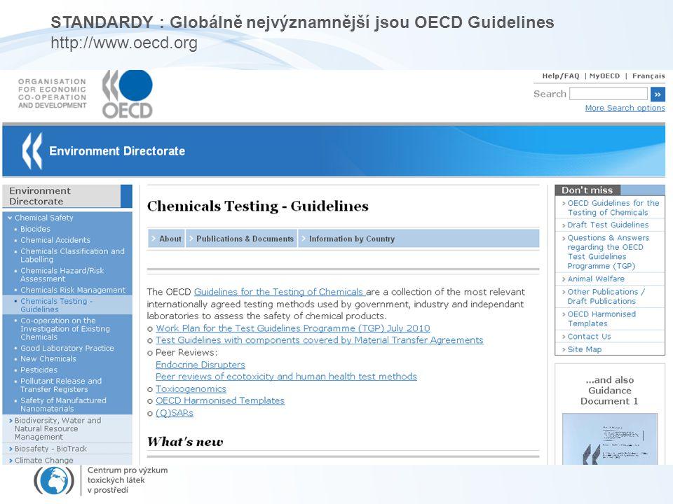 STANDARDY : Globálně nejvýznamnější jsou OECD Guidelines http://www.oecd.org