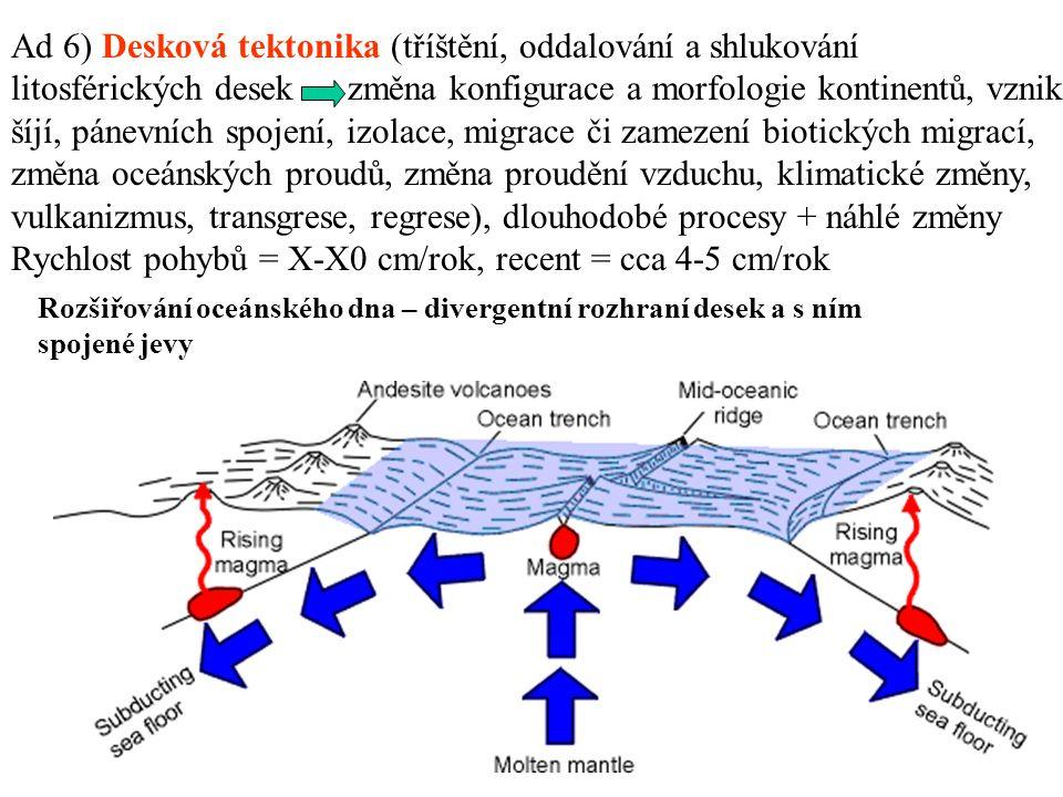 Rozšiřování oceánského dna – divergentní rozhraní desek a s ním spojené jevy Ad 6) Desková tektonika (tříštění, oddalování a shlukování litosférických desek změna konfigurace a morfologie kontinentů, vznik šíjí, pánevních spojení, izolace, migrace či zamezení biotických migrací, změna oceánských proudů, změna proudění vzduchu, klimatické změny, vulkanizmus, transgrese, regrese), dlouhodobé procesy + náhlé změny Rychlost pohybů = X-X0 cm/rok, recent = cca 4-5 cm/rok