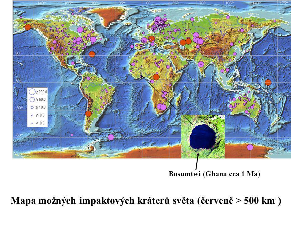 Mapa možných impaktových kráterů světa (červeně > 500 km ) Bosumtwi (Ghana cca 1 Ma)