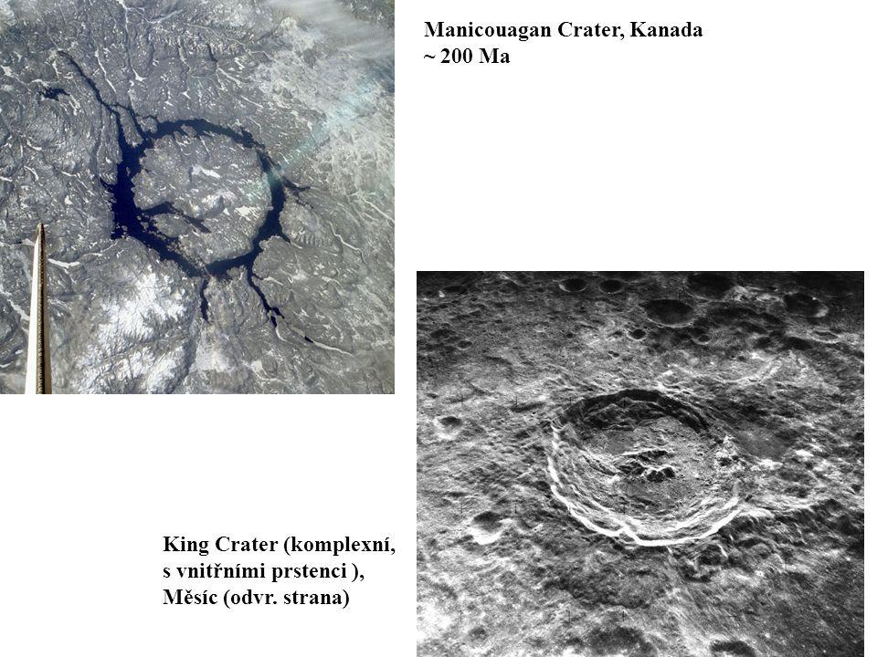 Manicouagan Crater, Kanada ~ 200 Ma King Crater (komplexní, s vnitřními prstenci ), Měsíc (odvr.