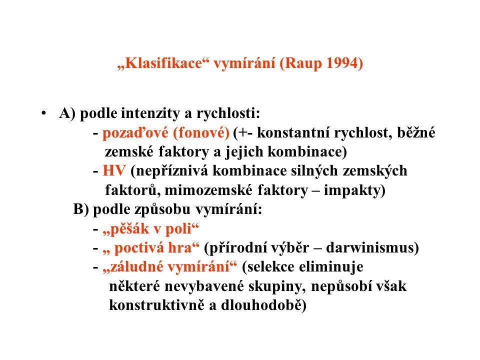 """""""Klasifikace vymírání (Raup 1994) A) podle intenzity a rychlosti: - pozaďové (fonové) (+- konstantní rychlost, běžné zemské faktory a jejich kombinace) - HV (nepříznivá kombinace silných zemských faktorů, mimozemské faktory – impakty) B) podle způsobu vymírání: - """"pěšák v poli - """" poctivá hra (přírodní výběr – darwinismus) - """"záludné vymírání (selekce eliminuje některé nevybavené skupiny, nepůsobí však konstruktivně a dlouhodobě)"""