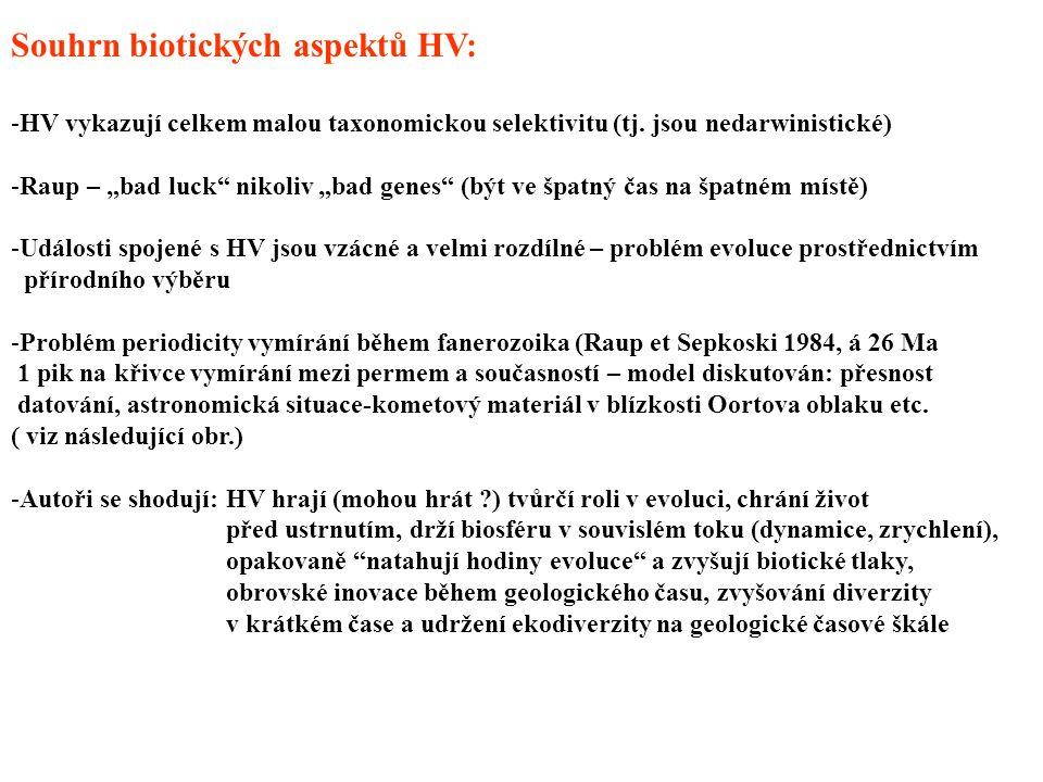 """Souhrn biotických aspektů HV: -HV vykazují celkem malou taxonomickou selektivitu (tj. jsou nedarwinistické) -Raup – """"bad luck"""" nikoliv """"bad genes"""" (bý"""