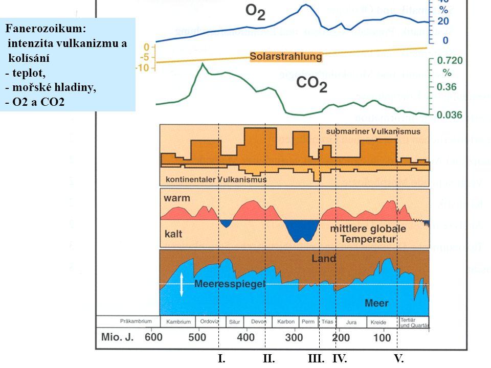 Fanerozoikum: intenzita vulkanizmu a kolísání - teplot, - mořské hladiny, - O2 a CO2 I.II.III.IV.V.