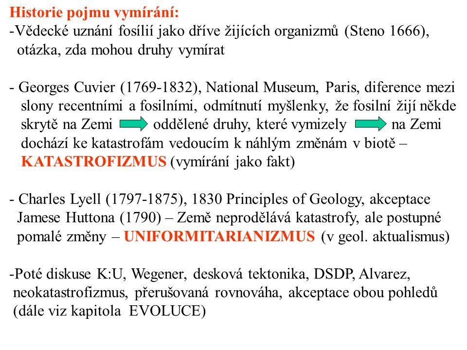 Historie pojmu vymírání: -Vědecké uznání fosílií jako dříve žijících organizmů (Steno 1666), otázka, zda mohou druhy vymírat - Georges Cuvier (1769-1832), National Museum, Paris, diference mezi slony recentními a fosilními, odmítnutí myšlenky, že fosilní žijí někde skrytě na Zemi oddělené druhy, které vymizely na Zemi dochází ke katastrofám vedoucím k náhlým změnám v biotě – KATASTROFIZMUS (vymírání jako fakt) - Charles Lyell (1797-1875), 1830 Principles of Geology, akceptace Jamese Huttona (1790) – Země neprodělává katastrofy, ale postupné pomalé změny – UNIFORMITARIANIZMUS (v geol.
