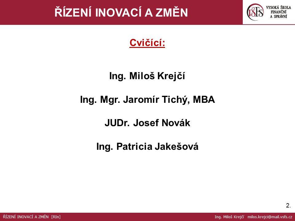 2.2. ŘÍZENÍ INOVACÍ A ZMĚN Cvičící: Ing. Miloš Krejčí Ing.