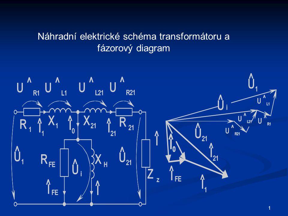 1 Náhradní elektrické schéma transformátoru a fázorový diagram