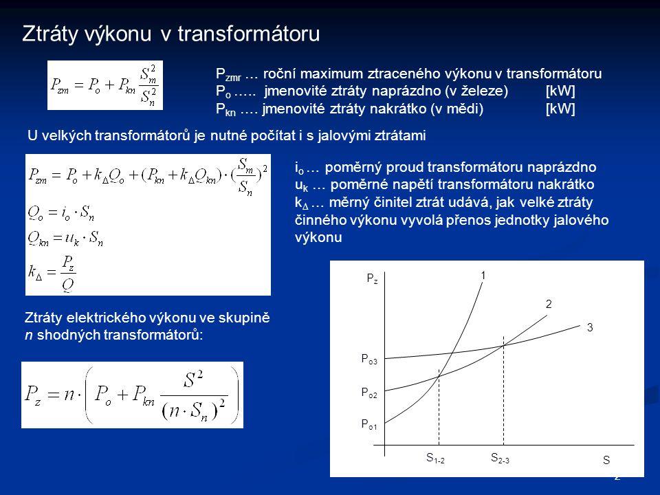2 Ztráty výkonu v transformátoru P zmr … roční maximum ztraceného výkonu v transformátoru P o ….. jmenovité ztráty naprázdno (v železe)[kW] P kn …. jm