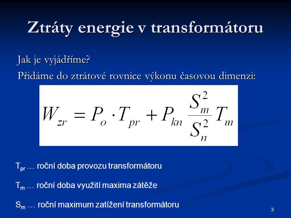 3 Ztráty energie v transformátoru Jak je vyjádříme? Přidáme do ztrátové rovnice výkonu časovou dimenzi: T pr … roční doba provozu transformátoru T m …