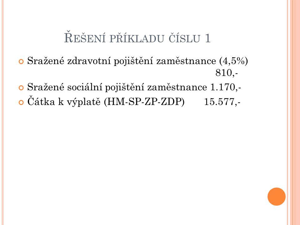 Ř EŠENÍ PŘÍKLADU ČÍSLU 2 Hrubá mzda12.000,- Zdravotní pojištění – podnik (9%) 1.080,- Sociální pojištění – podnik (25%) 3.000,- Superhrubá mzda 16.100,- Zaokrouhlená16.100,- Záloha na daň před slevami 2.415,- Slevy podle §35 ba 2.070,- Záloha na daň po uplatnění slev podle §35ba 345,- Sleva podle §35c 2.234,- Daňový bonus 1.889,-