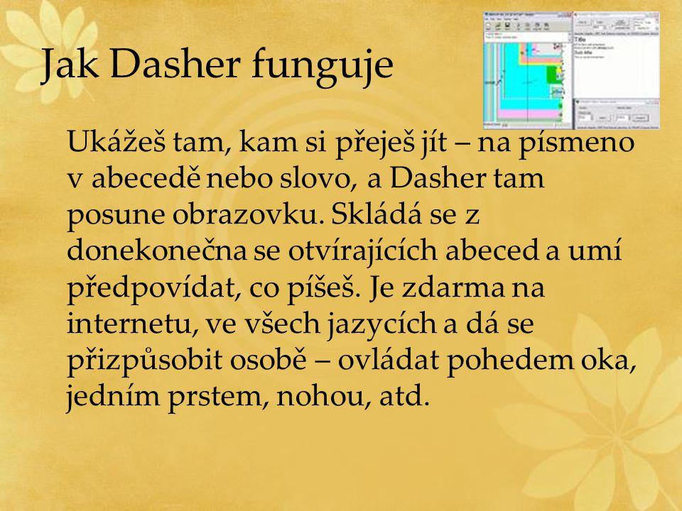 Jak Dasher funguje Ukážeš tam, kam si přeješ jít – na písmeno v abecedě nebo slovo, a Dasher tam posune obrazovku. Skládá se z donekonečna se otvírají