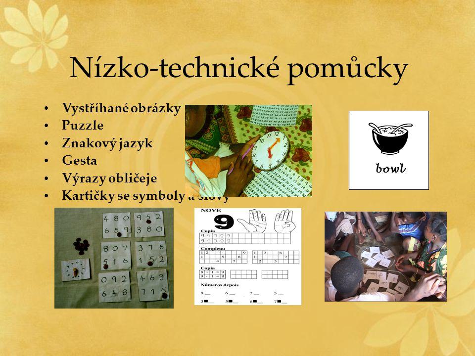 Nízko-technické pomůcky Vystříhané obrázky Puzzle Znakový jazyk Gesta Výrazy obličeje Kartičky se symboly a slovy bowl