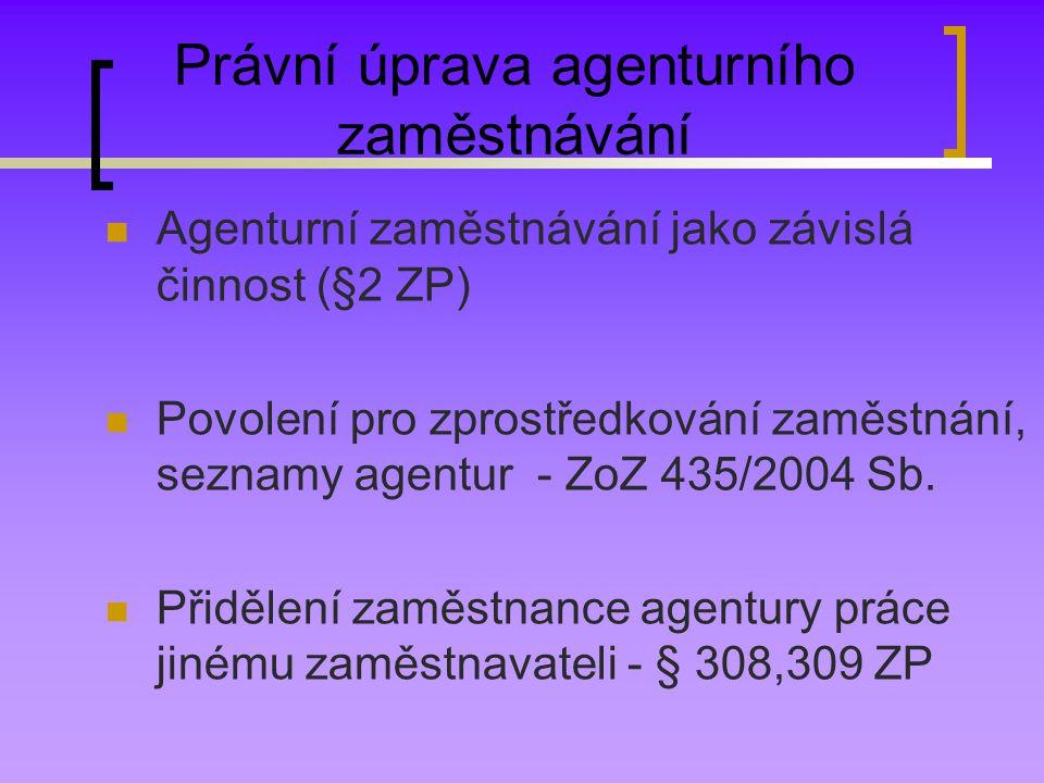 Právní úprava agenturního zaměstnávání Agenturní zaměstnávání jako závislá činnost (§2 ZP) Povolení pro zprostředkování zaměstnání, seznamy agentur - ZoZ 435/2004 Sb.