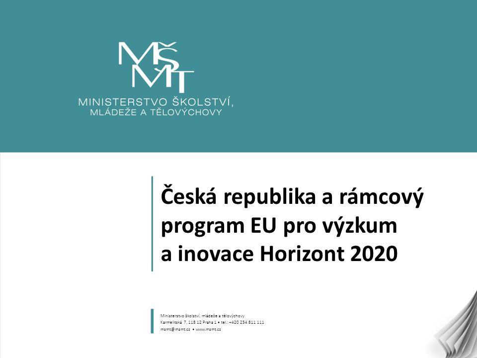 1 Česká republika a rámcový program EU pro výzkum a inovace Horizont 2020 Ministerstvo školství, mládeže a tělovýchovy Karmelitská 7, 118 12 Praha 1 tel.: +420 234 811 111 msmt@msmt.cz www.msmt.cz
